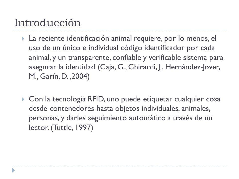 Introducción La reciente identificación animal requiere, por lo menos, el uso de un único e individual código identificador por cada animal, y un tran