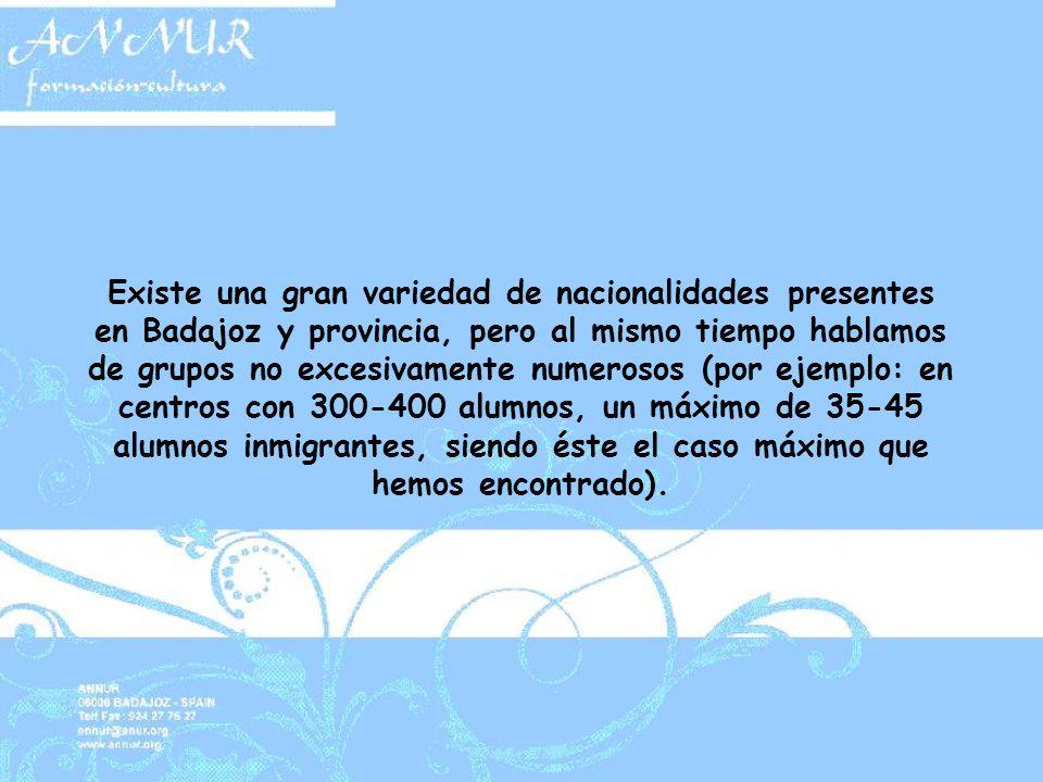 Existe una gran variedad de nacionalidades presentes en Badajoz y provincia, pero al mismo tiempo hablamos de grupos no excesivamente numerosos (por ejemplo: en centros con 300-400 alumnos, un máximo de 35-45 alumnos inmigrantes, siendo éste el caso máximo que hemos encontrado).