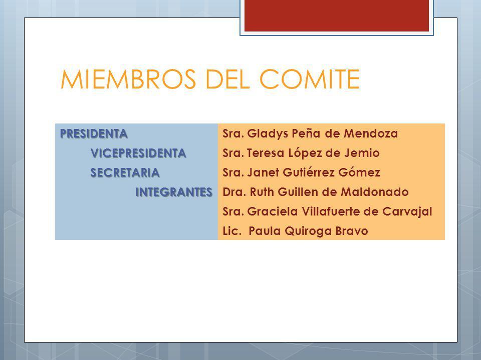 MIEMBROS DEL COMITE PRESIDENTASra. Gladys Peña de Mendoza VICEPRESIDENTASra.