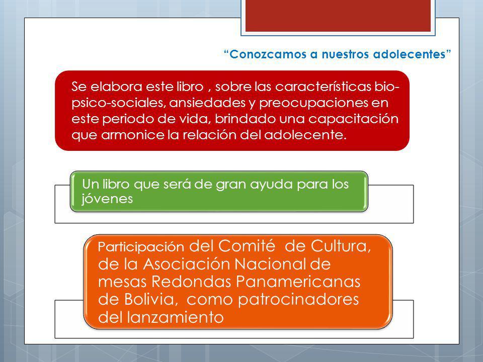 Un libro que será de gran ayuda para los jóvenes Participación del Comité de Cultura, de la Asociación Nacional de mesas Redondas Panamericanas de Bolivia, como patrocinadores del lanzamiento Se elabora este libro, sobre las características bio- psico-sociales, ansiedades y preocupaciones en este periodo de vida, brindado una capacitación que armonice la relación del adolecente.