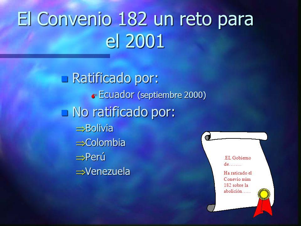 El Convenio 182 un reto para el 2001 nRnRnRnRatificado por: Ecuador (septiembre 2000) nNnNnNnNo ratificado por: Bolivia Colombia Perú Venezuela.EL Gobierno de……..