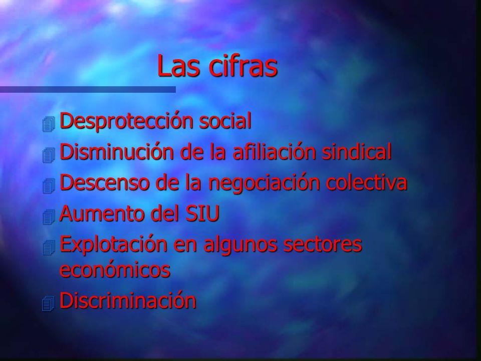 4 Desprotección social 4 Disminución de la afiliación sindical 4 Descenso de la negociación colectiva 4 Aumento del SIU 4 Explotación en algunos sectores económicos 4 Discriminación