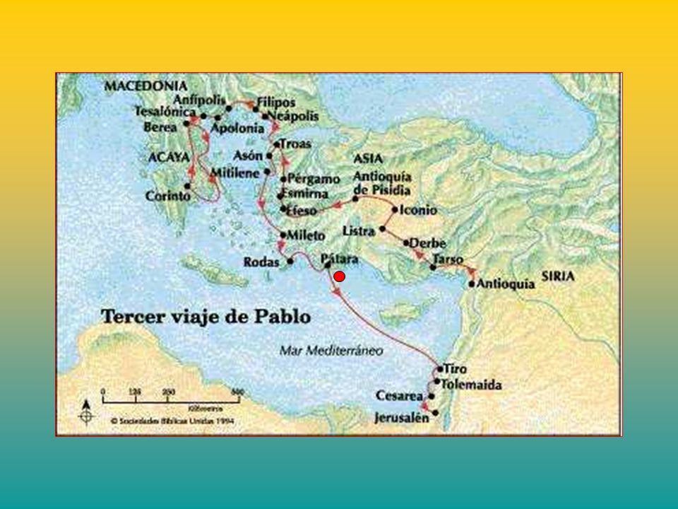 + Siguen navegando hasta Pátara, donde toman otra nave, que los conducirán a Fenicia. Hacen escala en Tiro y visitan la comunidad cristiana. Siguen a