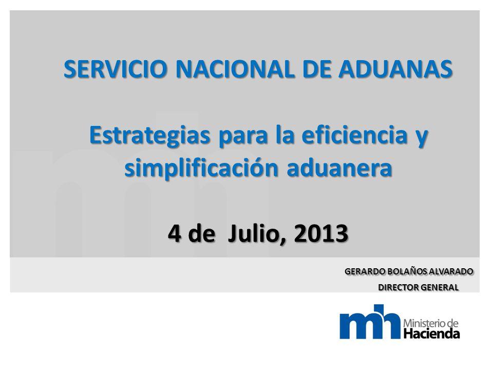 SERVICIO NACIONAL DE ADUANAS Estrategias para la eficiencia y simplificación aduanera 4 de Julio, 2013 GERARDO BOLAÑOS ALVARADO DIRECTOR GENERAL