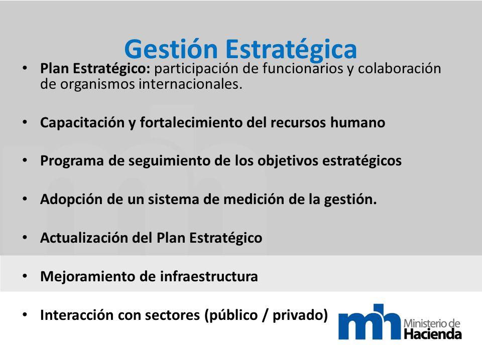 Gestión Estratégica Plan Estratégico: participación de funcionarios y colaboración de organismos internacionales.