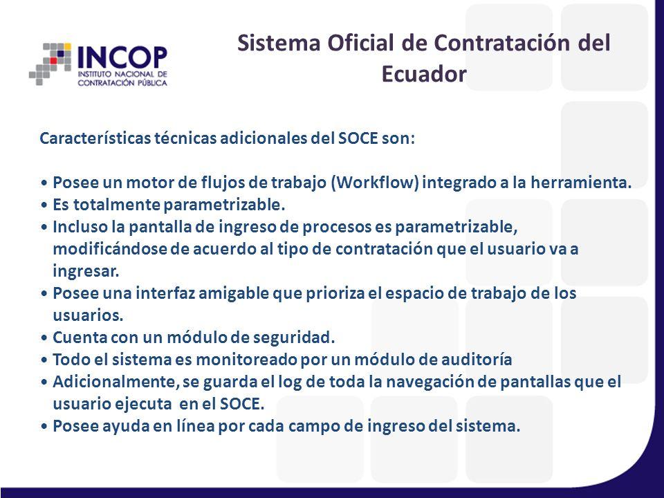 La parte transaccional del Sistema Oficial de Contratación del Ecuador (SOCE) está desarrollado con: Lenguaje de Programación PHP y Java Base de datos PostgreSQL Fue desarrollado integramente por técnicos del incop.