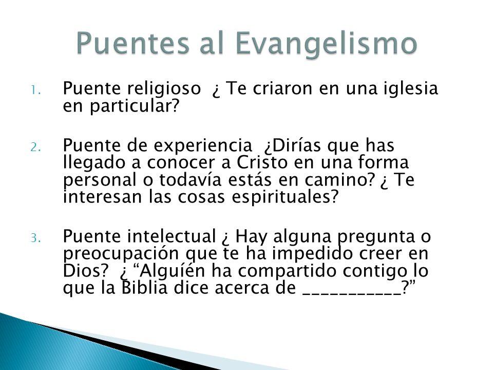 1. Puente religioso ¿ Te criaron en una iglesia en particular? 2. Puente de experiencia ¿Dirías que has llegado a conocer a Cristo en una forma person