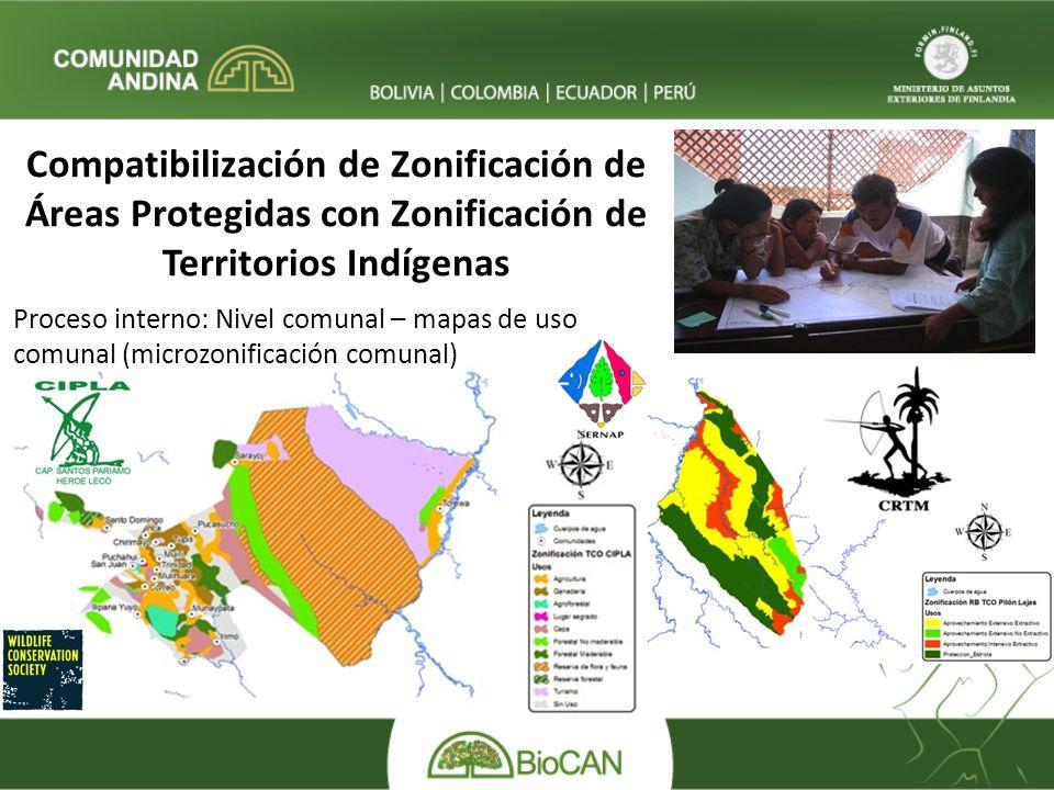 Proceso interno: Nivel comunal – mapas de uso comunal (microzonificación comunal) Compatibilización de Zonificación de Áreas Protegidas con Zonificación de Territorios Indígenas