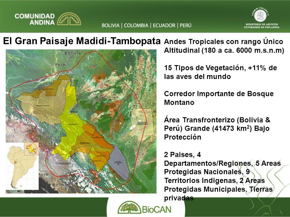 Andes Tropicales con rango Único Altitudinal (180 a ca. 6000 m.s.n.m) 15 Tipos de Vegetación, +11% de las aves del mundo Corredor Importante de Bosque