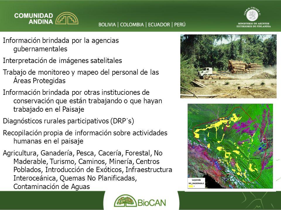 Información brindada por la agencias gubernamentales Interpretación de imágenes satelitales Trabajo de monitoreo y mapeo del personal de las Áreas Pro