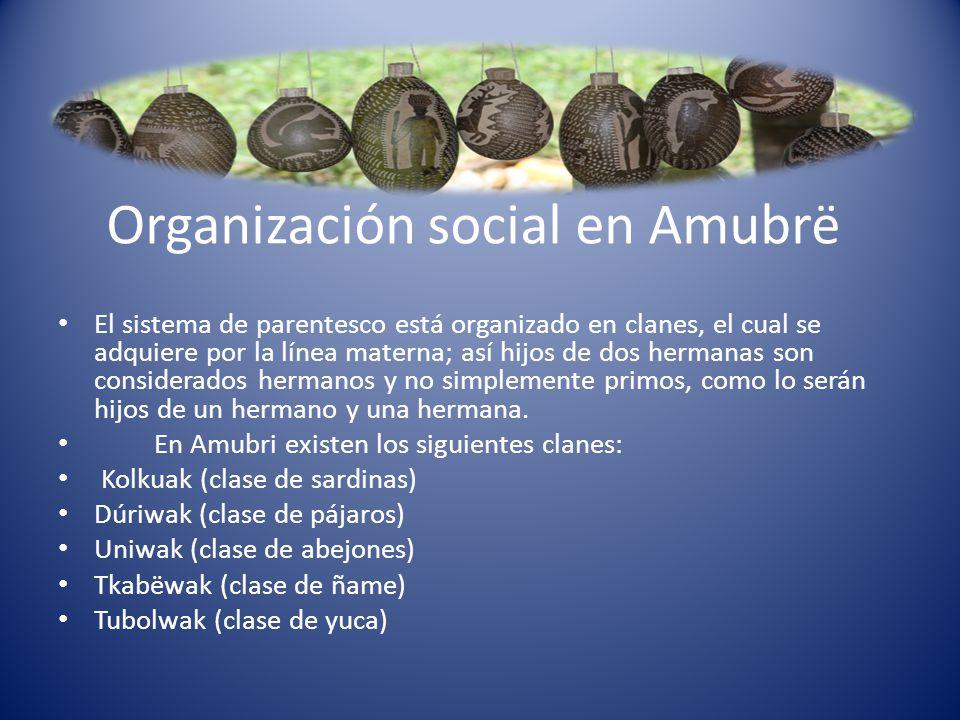 Organización social en Amubrë El sistema de parentesco está organizado en clanes, el cual se adquiere por la línea materna; así hijos de dos hermanas