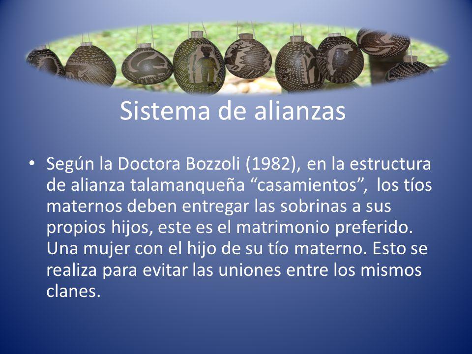 Sistema de alianzas Según la Doctora Bozzoli (1982), en la estructura de alianza talamanqueña casamientos, los tíos maternos deben entregar las sobrin