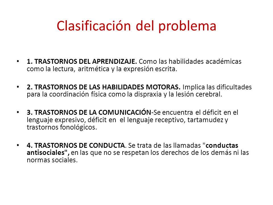 Clasificación del problema 1. TRASTORNOS DEL APRENDIZAJE. Como las habilidades académicas como la lectura, aritmética y la expresión escrita. 2. TRAST