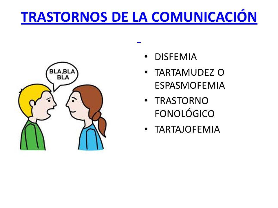 TRASTORNOS DE LA COMUNICACIÓN DISFEMIA TARTAMUDEZ O ESPASMOFEMIA TRASTORNO FONOLÓGICO TARTAJOFEMIA