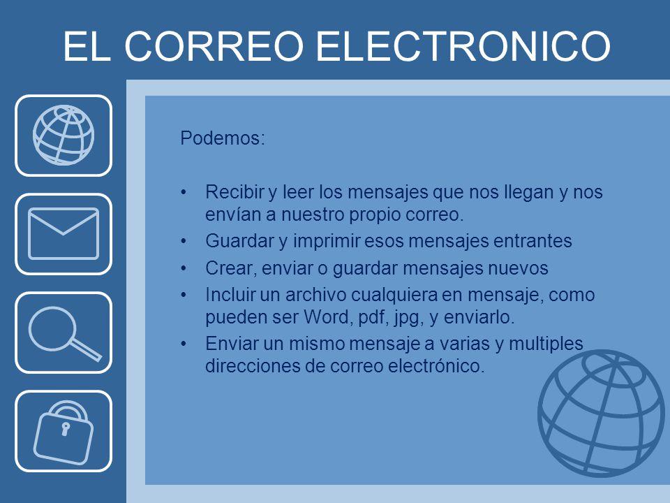 EL CORREO ELECTRONICO Podemos: Recibir y leer los mensajes que nos llegan y nos envían a nuestro propio correo.