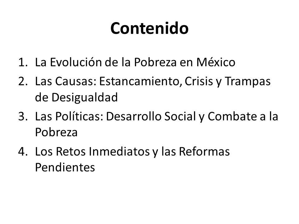 Contenido 1.La Evolución de la Pobreza en México 2.Las Causas: Estancamiento, Crisis y Trampas de Desigualdad 3.Las Políticas: Desarrollo Social y Com