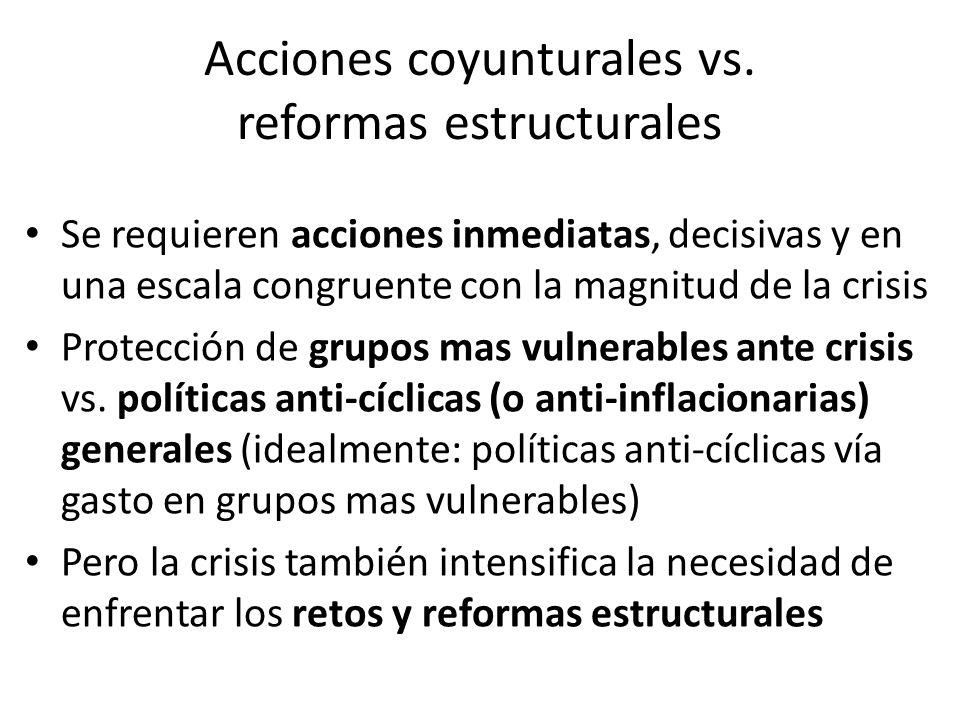 Acciones coyunturales vs. reformas estructurales Se requieren acciones inmediatas, decisivas y en una escala congruente con la magnitud de la crisis P