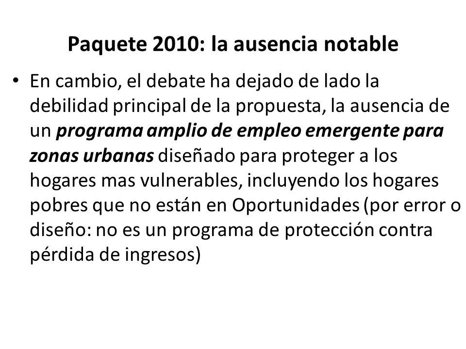 Paquete 2010: la ausencia notable En cambio, el debate ha dejado de lado la debilidad principal de la propuesta, la ausencia de un programa amplio de