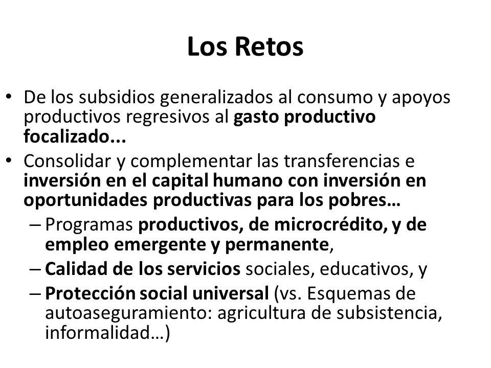 Los Retos De los subsidios generalizados al consumo y apoyos productivos regresivos al gasto productivo focalizado... Consolidar y complementar las tr