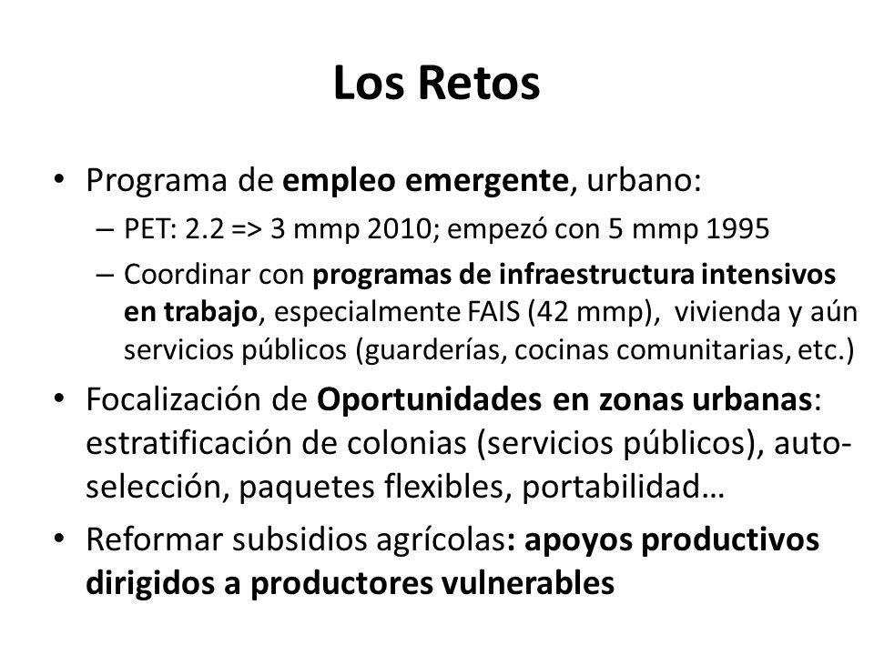 Los Retos Programa de empleo emergente, urbano: – PET: 2.2 => 3 mmp 2010; empezó con 5 mmp 1995 – Coordinar con programas de infraestructura intensivo