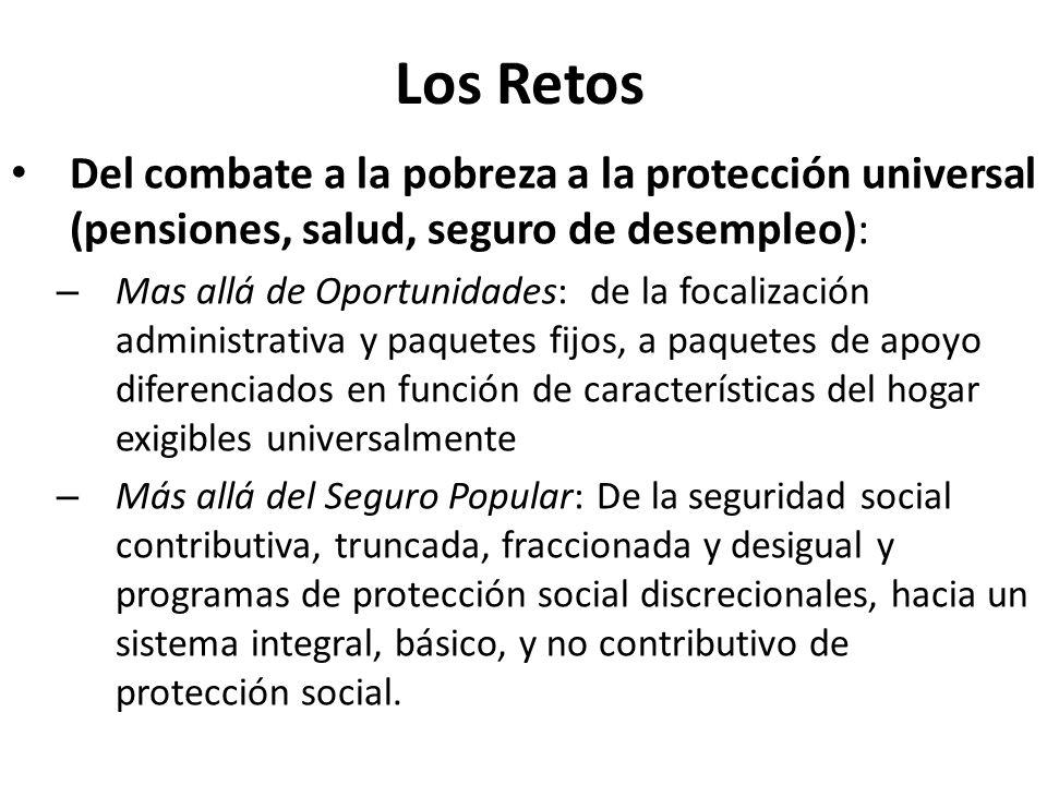 Los Retos Del combate a la pobreza a la protección universal (pensiones, salud, seguro de desempleo): – Mas allá de Oportunidades: de la focalización