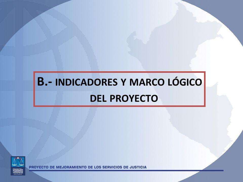 B.- INDICADORES Y MARCO LÓGICO DEL PROYECTO