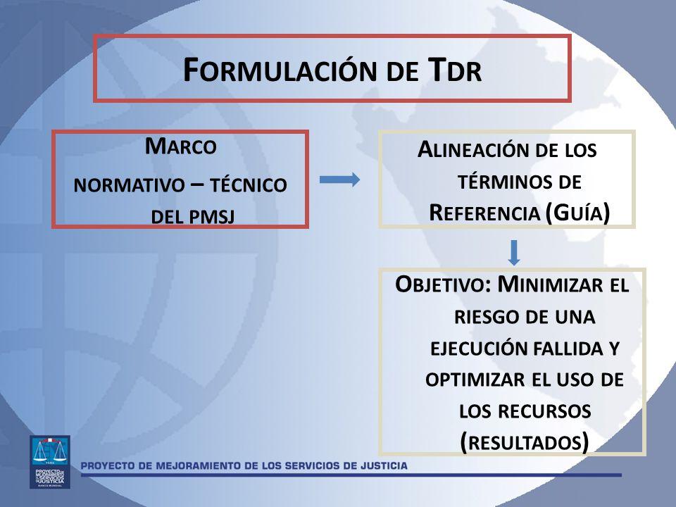 F ORMULACIÓN DE T DR M ARCO NORMATIVO – TÉCNICO DEL PMSJ A LINEACIÓN DE LOS TÉRMINOS DE R EFERENCIA (G UÍA ) O BJETIVO : M INIMIZAR EL RIESGO DE UNA EJECUCIÓN FALLIDA Y OPTIMIZAR EL USO DE LOS RECURSOS ( RESULTADOS )