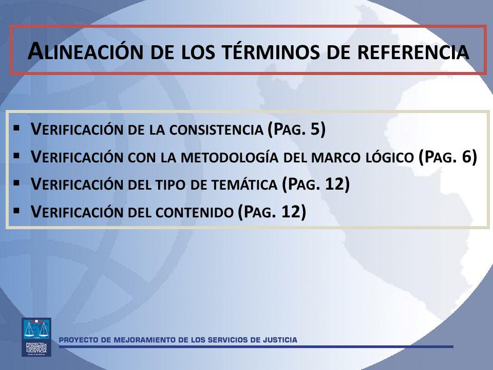 A LINEACIÓN DE LOS TÉRMINOS DE REFERENCIA V ERIFICACIÓN DE LA CONSISTENCIA (P AG.