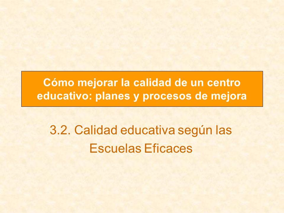 3.2. Calidad educativa según las Escuelas Eficaces Cómo mejorar la calidad de un centro educativo: planes y procesos de mejora