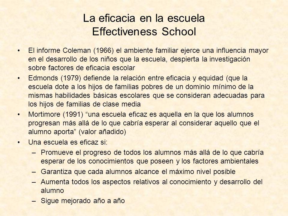 La eficacia en la escuela Effectiveness School El informe Coleman (1966) el ambiente familiar ejerce una influencia mayor en el desarrollo de los niño