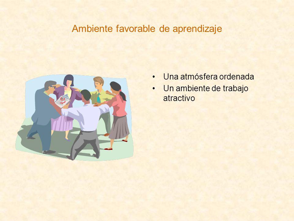Ambiente favorable de aprendizaje Una atmósfera ordenada Un ambiente de trabajo atractivo
