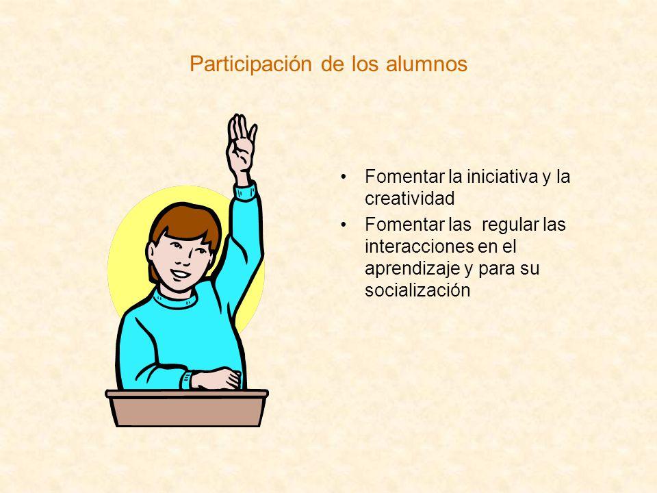 Participación de los alumnos Fomentar la iniciativa y la creatividad Fomentar las regular las interacciones en el aprendizaje y para su socialización