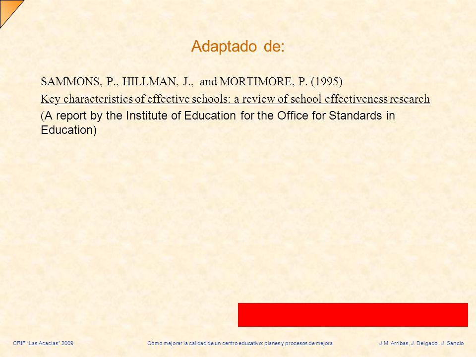 CRIF Las Acacias 2009Cómo mejorar la calidad de un centro educativo: planes y procesos de mejoraJ.M. Arribas, J. Delgado, J. Sancio Adaptado de: SAMMO