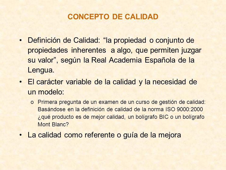 CONCEPTO DE CALIDAD Definición de Calidad: la propiedad o conjunto de propiedades inherentes a algo, que permiten juzgar su valor, según la Real Acade