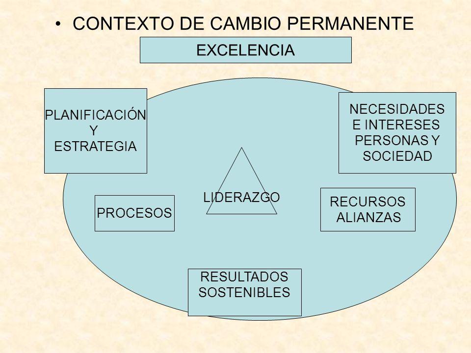 CONTEXTO DE CAMBIO PERMANENTE RESULTADOS SOSTENIBLES dd EXCELENCIA PROCESOS NECESIDADES E INTERESES PERSONAS Y SOCIEDAD PLANIFICACIÓN Y ESTRATEGIA LID
