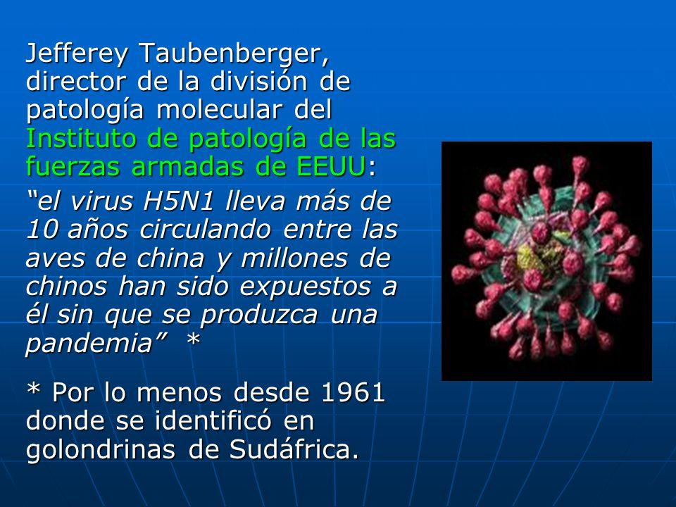 Jefferey Taubenberger, director de la división de patología molecular del Instituto de patología de las fuerzas armadas de EEUU: el virus H5N1 lleva m