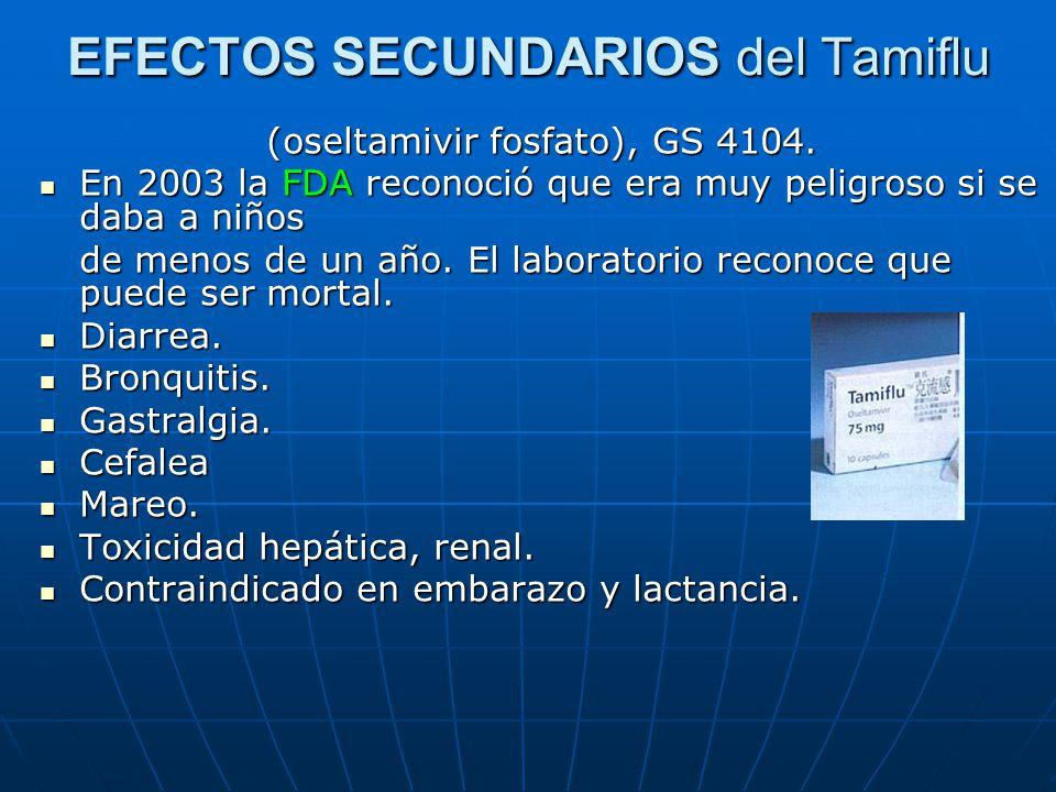 EFECTOS SECUNDARIOS del Tamiflu (oseltamivir fosfato), GS 4104. En 2003 la FDA reconoció que era muy peligroso si se daba a niños En 2003 la FDA recon