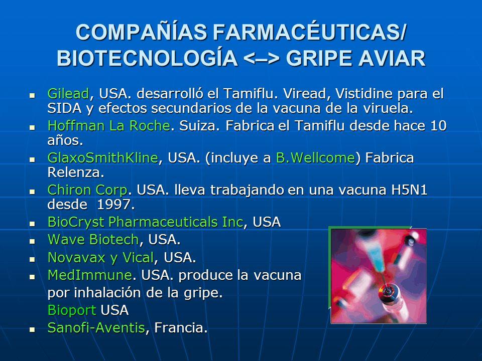 COMPAÑÍAS FARMACÉUTICAS/ BIOTECNOLOGÍA GRIPE AVIAR Gilead, USA. desarrolló el Tamiflu. Viread, Vistidine para el SIDA y efectos secundarios de la vacu