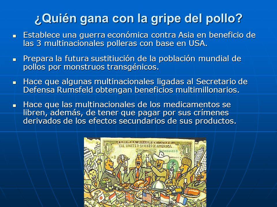 ¿Quién gana con la gripe del pollo? Establece una guerra económica contra Asia en beneficio de las 3 multinacionales polleras con base en USA. Estable