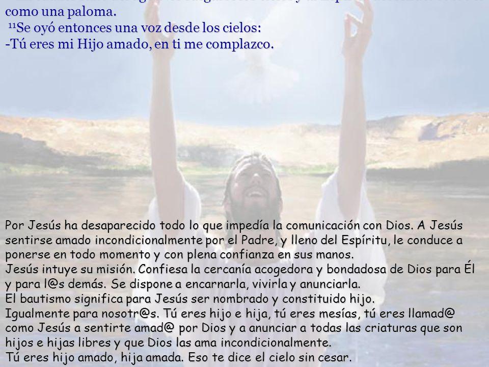 10 En cuanto salió del agua vio rasgarse los cielos y al Espíritu descender sobre él como una paloma.