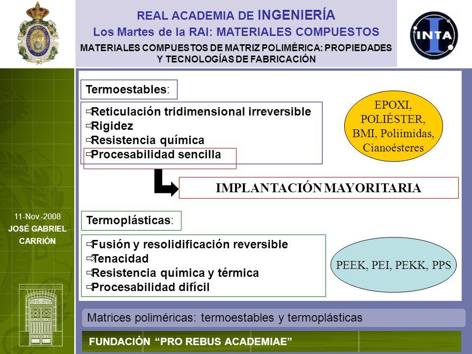 MATERIALES COMPUESTOS DE MATRIZ POLIMÉRICA: PROPIEDADES Y TECNOLOGÍAS DE FABRICACIÓN Matrices poliméricas: termoestables y termoplásticas REAL ACADEMI