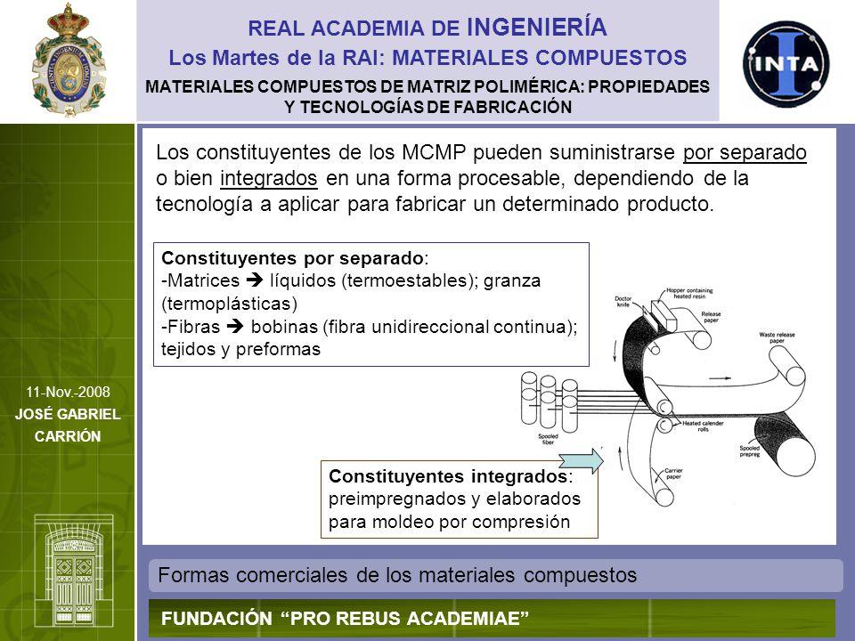 MATERIALES COMPUESTOS DE MATRIZ POLIMÉRICA: PROPIEDADES Y TECNOLOGÍAS DE FABRICACIÓN Formas comerciales de los materiales compuestos REAL ACADEMIA DE