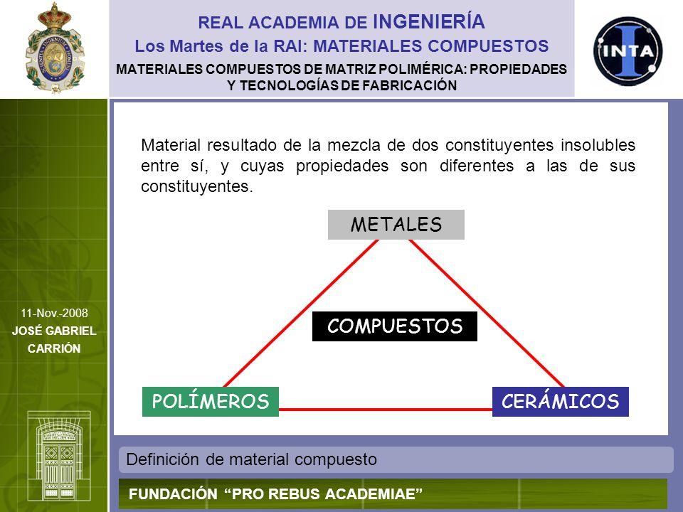 MATERIALES COMPUESTOS DE MATRIZ POLIMÉRICA: PROPIEDADES Y TECNOLOGÍAS DE FABRICACIÓN Características fundamentales REAL ACADEMIA DE INGENIERÍA FUNDACIÓN PRO REBUS ACADEMIAE Los Martes de la RAI: MATERIALES COMPUESTOS 11-Nov.-2008 JOSÉ GABRIEL CARRIÓN Heterogeneidad en su composición Uno de los materiales actúa como refuerzo, y el otro como ligante o matriz El refuerzo puede ser continuo o disperso; los compuestos de refuerzo continuo tienen un comportamiento marcadamente anisótropo