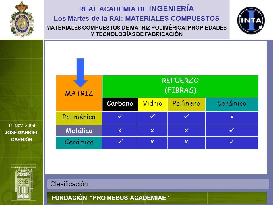 MATERIALES COMPUESTOS DE MATRIZ POLIMÉRICA: PROPIEDADES Y TECNOLOGÍAS DE FABRICACIÓN Clasificación de los procesos de fabricación REAL ACADEMIA DE INGENIERÍA FUNDACIÓN PRO REBUS ACADEMIAE Los Martes de la RAI: MATERIALES COMPUESTOS 11-Nov.-2008 JOSÉ GABRIEL CARRIÓN CLASIFICACIÓN DE LOS PROCESOS DE FABRICACIÓN Y CONSOLIDACIÓN DE MCMP Procesos manuales o con baja automatización Procesos altamente automatizados Procesos con integración in situ de refuerzo y matriz suministrados por separado Laminación por vía húmeda Devanado de filamentos Pultrusión RTM y técnicas afines Procesos a partir de matriz y refuerzo integrados como producto comercial Laminación con preimpregnados ATL, FP Tecnología SMC Procesos exclusivos de compuestos de matriz termoplástica Conformado diafragma Compresión