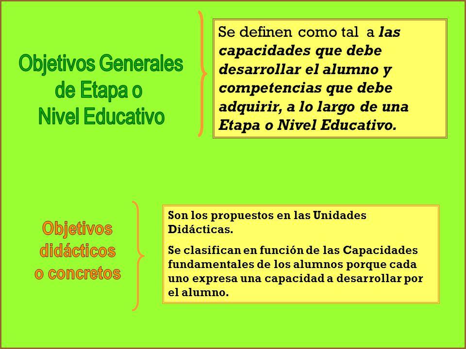 Se definen como tal a las capacidades que debe desarrollar el alumno y competencias que debe adquirir, a lo largo de una Etapa o Nivel Educativo. Son