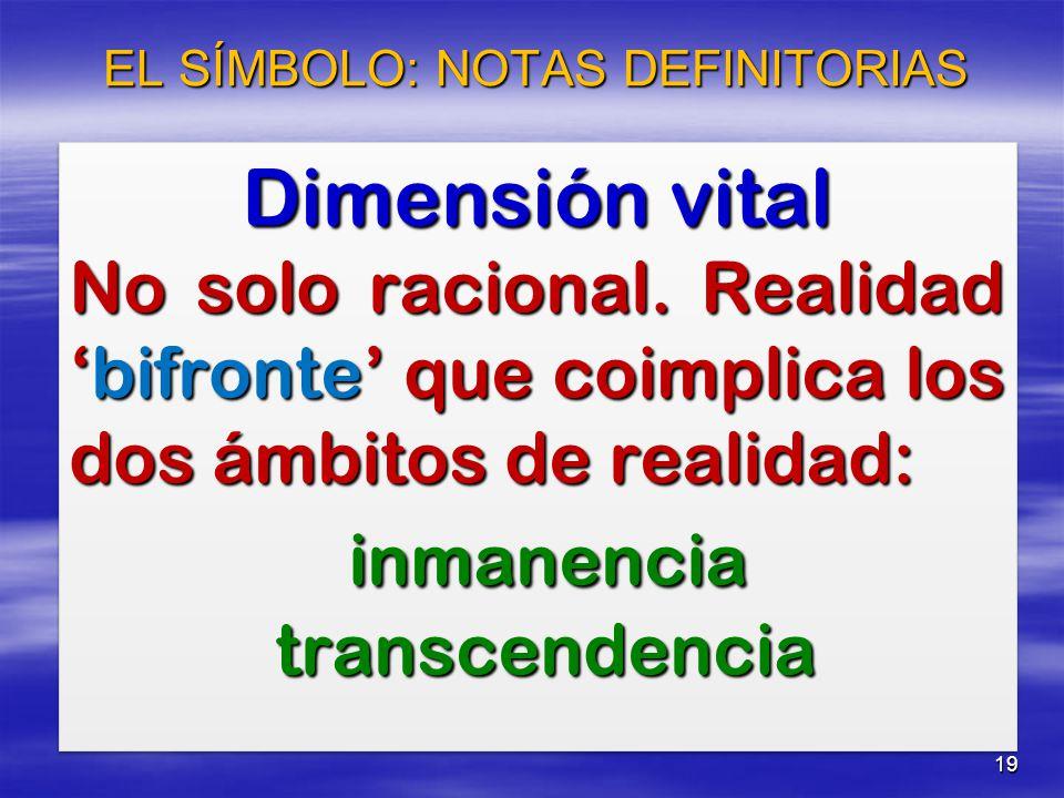 19 Dimensión vital No solo racional. Realidadbifronte que coimplica los dos ámbitos de realidad: inmanencia inmanencia transcendencia transcendencia D