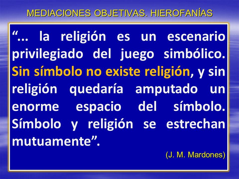 MEDIACIONES OBJETIVAS. HIEROFANÍAS... la religión es un escenario privilegiado del juego simbólico. Sin símbolo no existe religión, y sin religión que