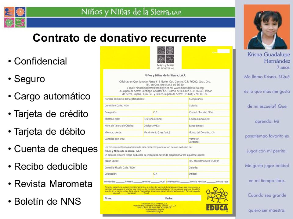 Contrato de donativo recurrente Confidencial Seguro Cargo automático Tarjeta de crédito Tarjeta de débito Cuenta de cheques Recibo deducible Revista Marometa Boletín de NNS
