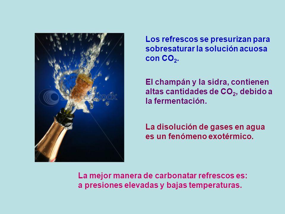 Los refrescos se presurizan para sobresaturar la solución acuosa con CO 2. El champán y la sidra, contienen altas cantidades de CO 2, debido a la ferm