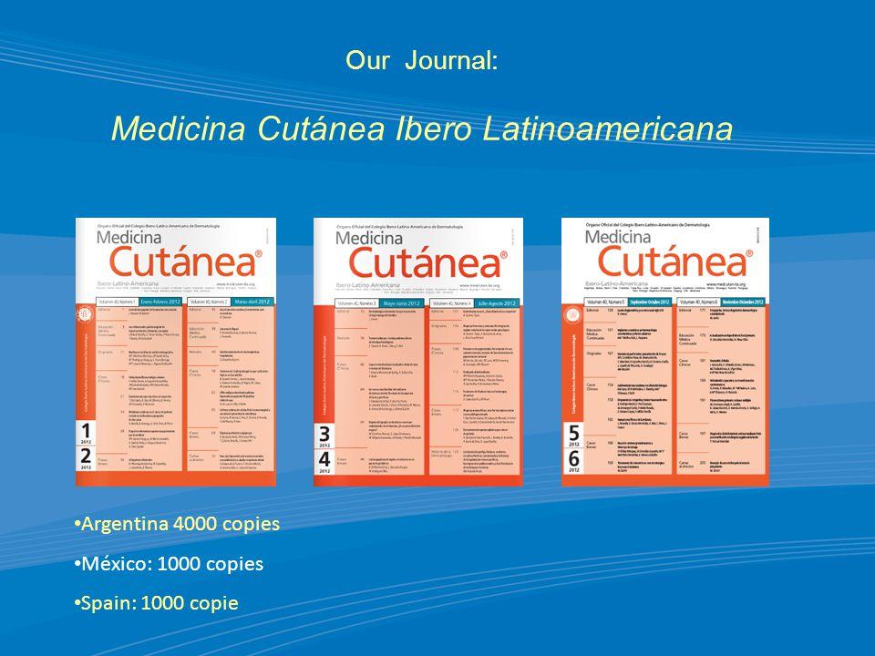 Our Journal: Medicina Cutánea Ibero Latinoamericana Argentina 4000 copies México: 1000 copies Spain: 1000 copie
